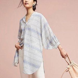 Anthro Maeve Lena Yarn-Dyed Tunic Oversize